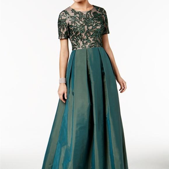 c15eb65ae6f22a Adrianna Papell Dresses | Beaded Mesh Taffeta Gown Emerald | Poshmark